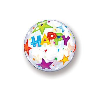 Ballon Bubble Kugel Happy Birthday bunte Sterne Geburtstag circa 55cm Ballon