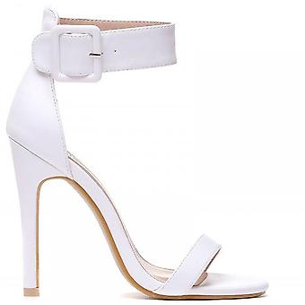 Shoe Closet Ladies White Pu Leather ED97 Stilettos Ankle Strap Peep Toes Strappy Sandals High Heels