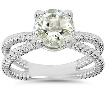 1 3/4CT Aquamarine Briaded Solitaire Ring 14k White Gold