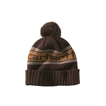 Carhartt Rexburg Hat - Dark Brown Rib Knit Hat with Carhartt knitted logo front