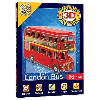Mini Build Your Own 3D Puzzle Model Kit - London Bus (66 Pieces)