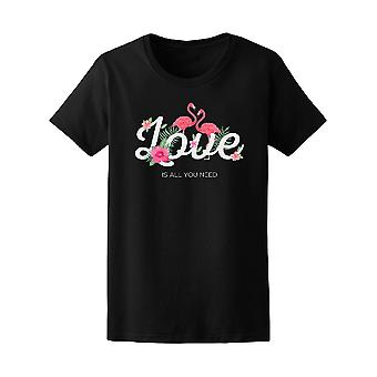 Love Typography With Flamingos  Tee Women's -Image by Shutterstock