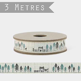 East of India HOUSES IN FIR TREES Ribbon Grosgrain 3m