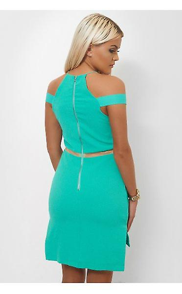 The Fashion Bible Side Split Green Mesh Shift Dress