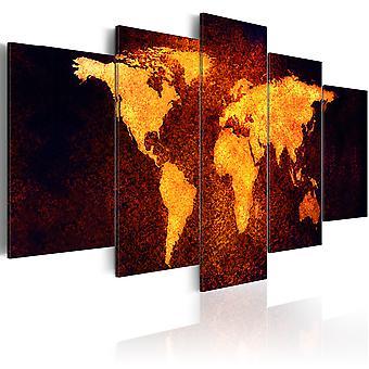 Lærred Udskriv - verdenskort - Hot lava