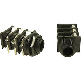 6.35 mm audio jack Socket, horizontal mount Number of pins: 2 Mono Black Cliff FCR50055 1 pc(s)