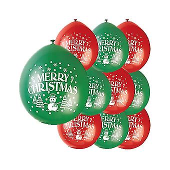 10 Quality Red & Green Merry Christmas Printed Balloons | Party Balloons