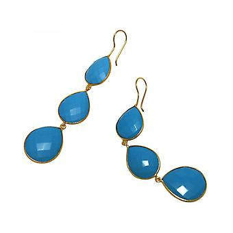 Gemshine - dulces - turquesa - azul - oro plateado damas - Pendientes - plata 925 - gota - 9 cm