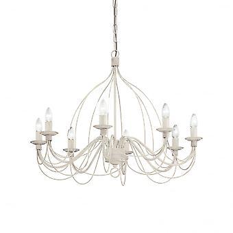 Ideal Lux Corte 8 Bulb Pendant Light White Antico