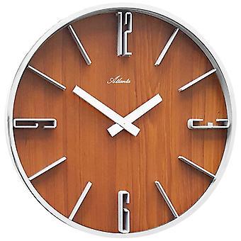 Атланта 4426/20 настенные часы кварцевые аналоговые серебро дерево выглядят цвета орех