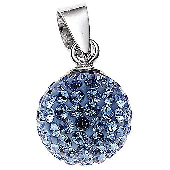Trailer ball 925 sterling silver rhodium plated with crystals blue