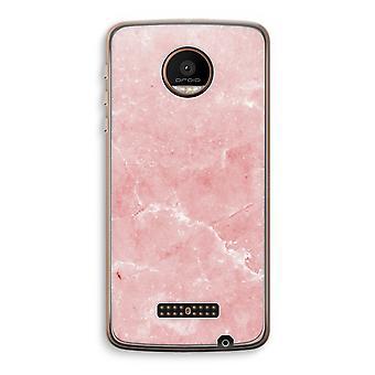 Motorola Moto Z Force Transparent Case (Soft) - Pink Marble