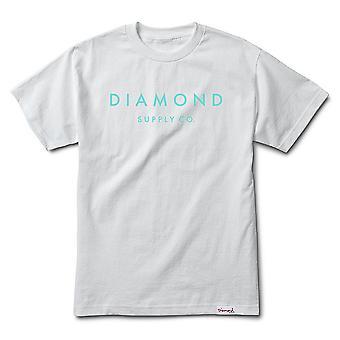 Piedra de diamante fuente Co corte camiseta blanco
