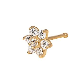 14k Yellow Gold Cubic Zirconia Flower Body Piercing Jewelry Nose Stud