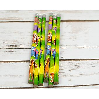 6 Wild Animal Pencils for Kids Jungle Party Bags | Wild Animal Kids Crafts
