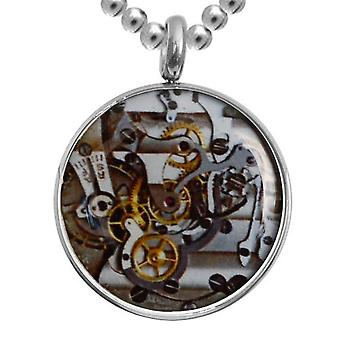 Edelstaal met ketting, sieraden, Clockwork mechanisme