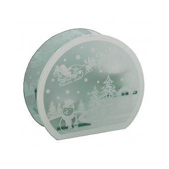雪だるまとサンタ シーン エッチング ガラス ティーライト ホルダー