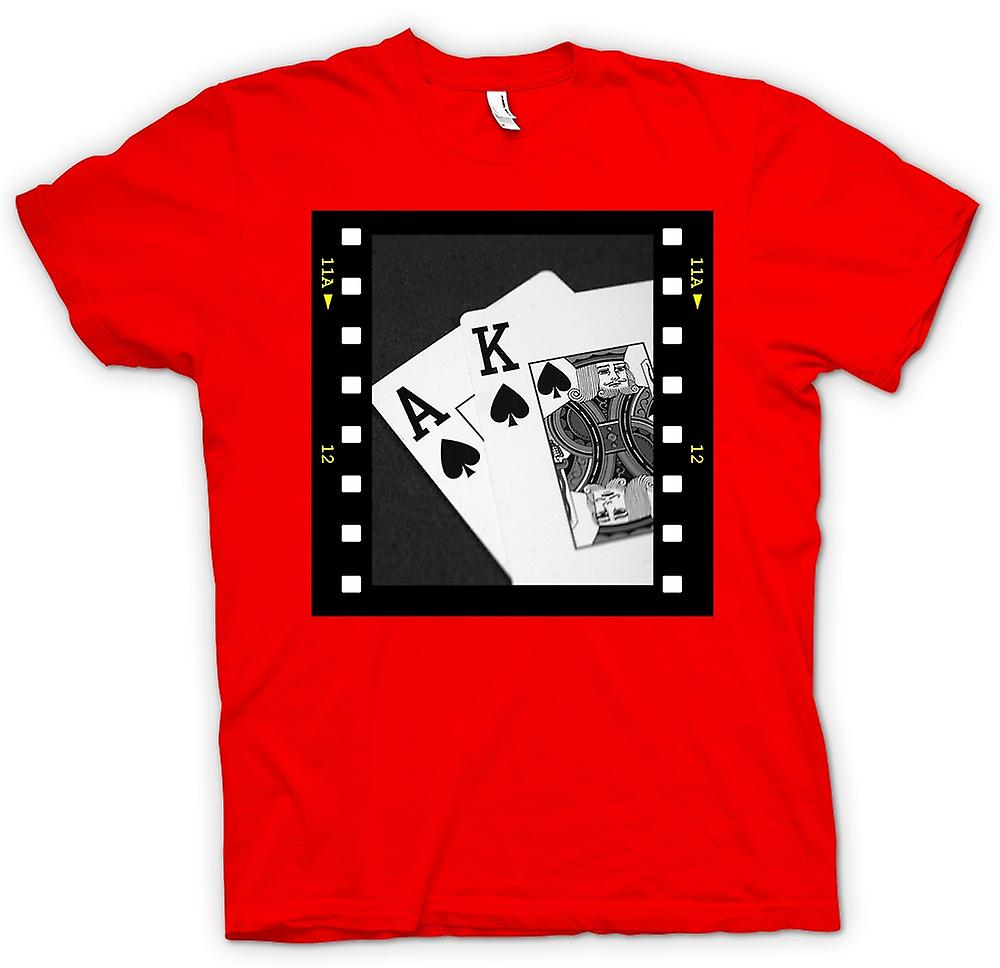 Camiseta para hombre-mano de Poker Black Jack as rey