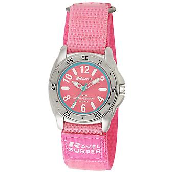 Ravel Girls Analogue Surfer Silver Dial Pink Easy Fasten Strap Watch R5-13.15L