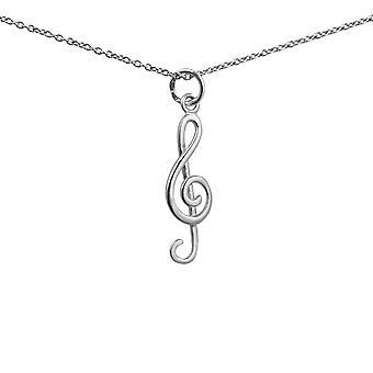 Silver 23x9mm G Clef Pendant with a 1mm wide rolo Chain 24 inches