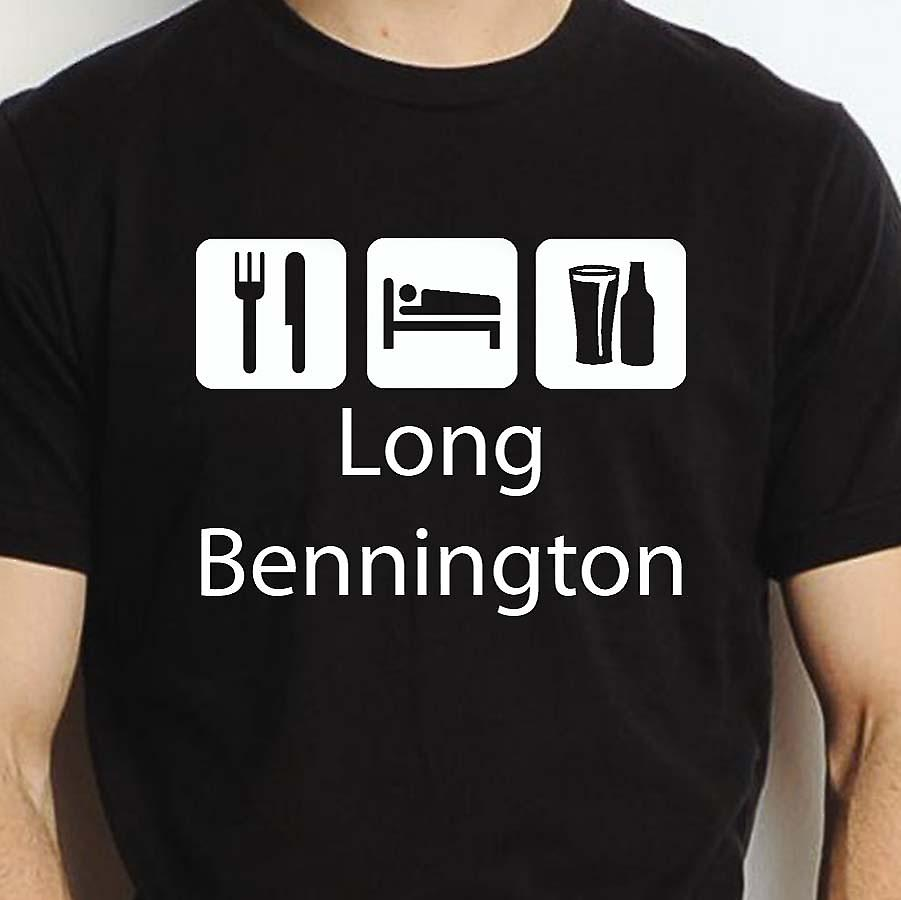Eat Sleep Drink Longbennington Black Hand Printed T shirt Longbennington Town