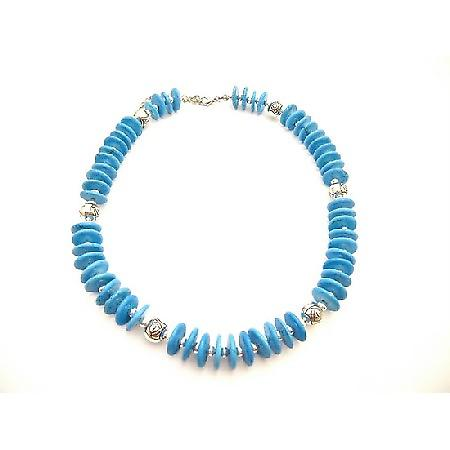 Handcrafted Turquiose Rings Beads Bali Silver Metal Necklace
