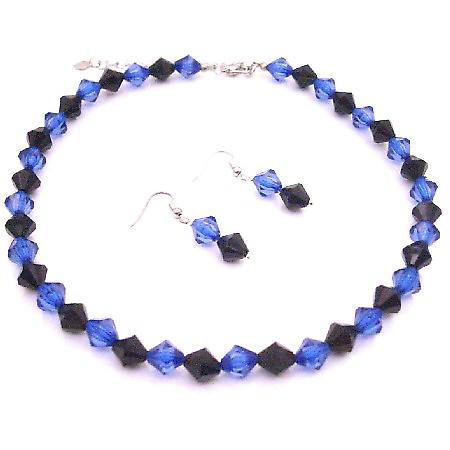 Dark Blue & Black Crystal Combo Jewelry Set Custom In Your Color