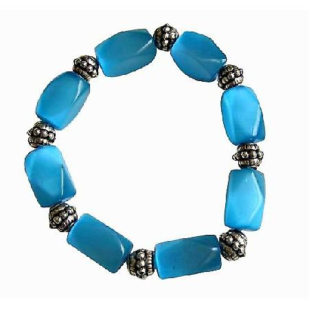 Barrel Blue Faceted Cate Eye Stretchable Bracelet Daisy Spacing Beads