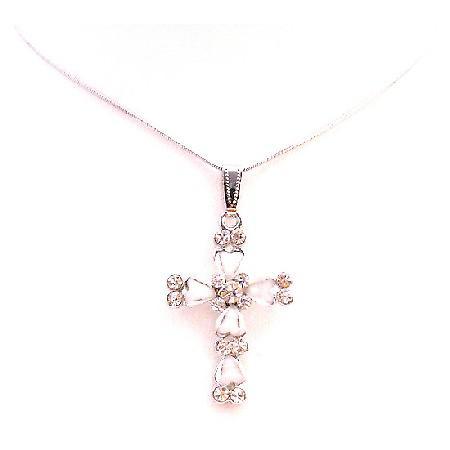 Cross Pendant White Enamel w/ Sparkling Diamante Cubic Zircon Embedded