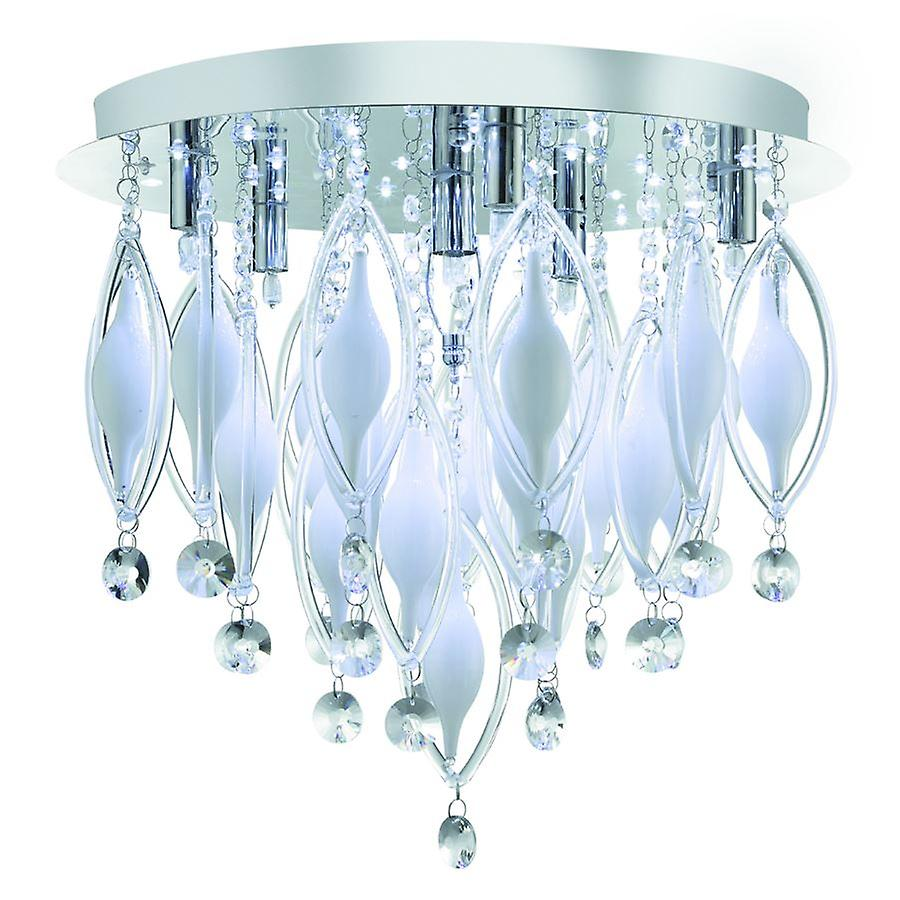 Spindle 6 Light Chrome And Glass LED Flush Fitting With Remote - Searchlight 2456-6CC