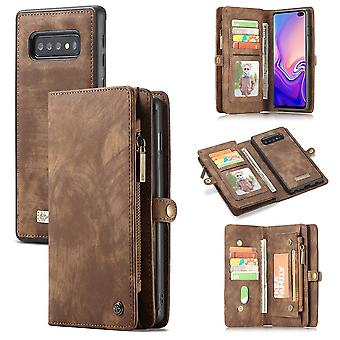 Mobile bag for Samsung Galaxy S10 G973F CaseMe protective case purse + pouch case faux leather Brown
