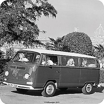 VW Volkswagen Minibus b&w cork backed drinks coaster  (ro)