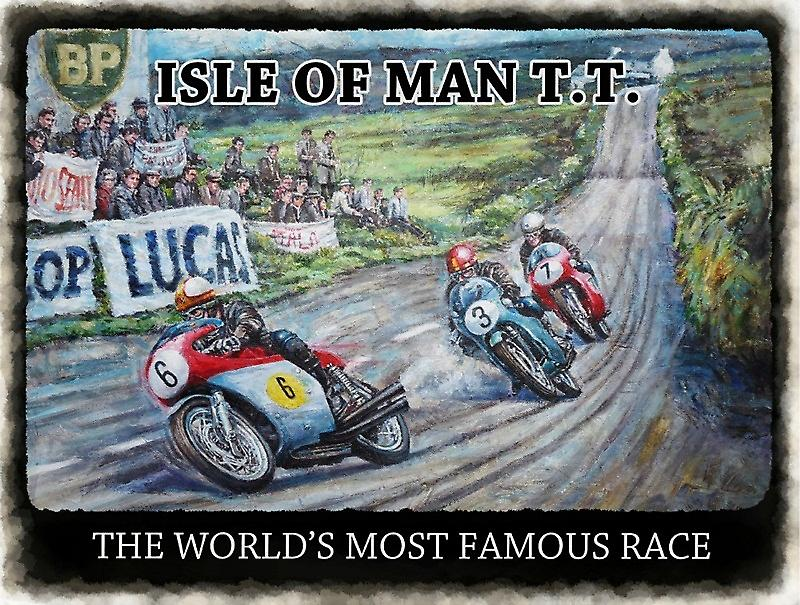 Isle of Man TT World's Most Famous Race large metal sign 400mm x 300mm  (og)