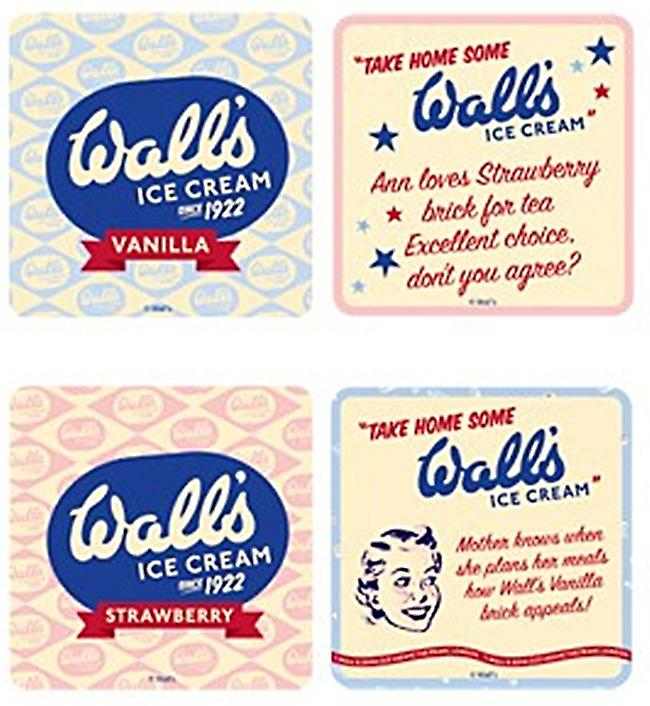 Walls Ice Cream since 1922 set of 4 cork backed drinks coasters   (hb)