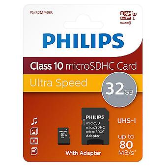 32GB Philips Micro SD SDHC Memory Card CLASS 10 UHS-1 80MB/s with Adapter 32GB