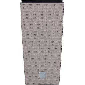 スタイリッシュな籐モカ色プランター高さ 50 cm 正方形プラスチック