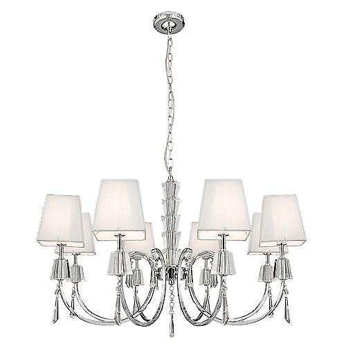 Searchlight 6888-8CC Portico 8 Arm Chrome And Glass Fitting With White String Shades