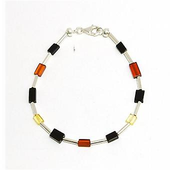 Toc Sterling Silver Multi Color Square Amber Bead Bracelet