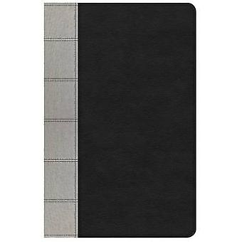 NKJV Large Print Personal Size Reference Bible - Black/Gray Deluxe Le