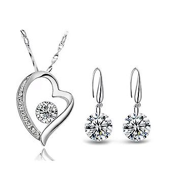 925 Sterling Silver Dazzling Heart And Drop Jewellery Set