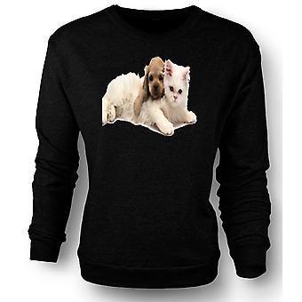Womens Sweatshirt søt katt og hund stående