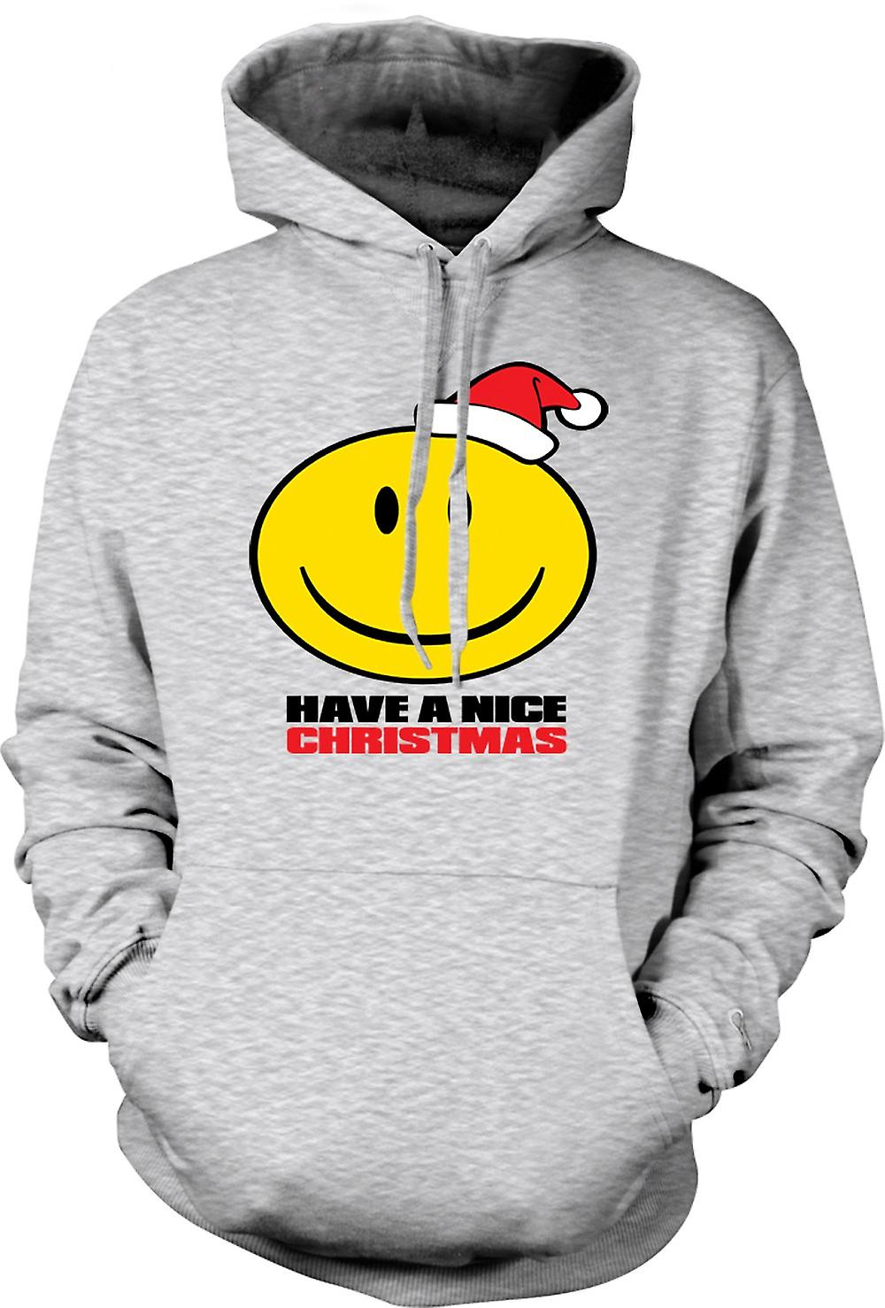 Mens Hoodie - Smiley Face, en trevlig jul