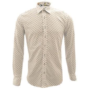 Claudio Lugli Oxford Paisley Pattern Floral Trim Mens Long Sleeve Shirt