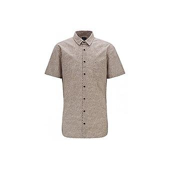 Hugo Boss Casual Hugo Boss Mens Slim Fit Magneton Short Sleeved Beige Patterned Shirt