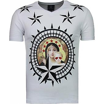 Holy Mary-rhinestone T-shirt-vit