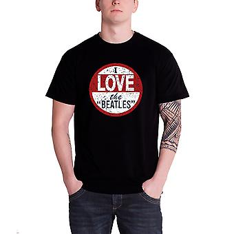 The Beatles T Shirt I Love The Beatles Vintage Band Logo Official Mens Black