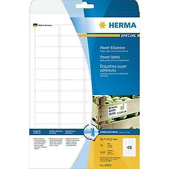 Herma 10902 Labels (A4) 45.7 x 21.2 mm Paper White 1200 pc(s) Permanent Adhesive labels (extra strong), All-purpose labe