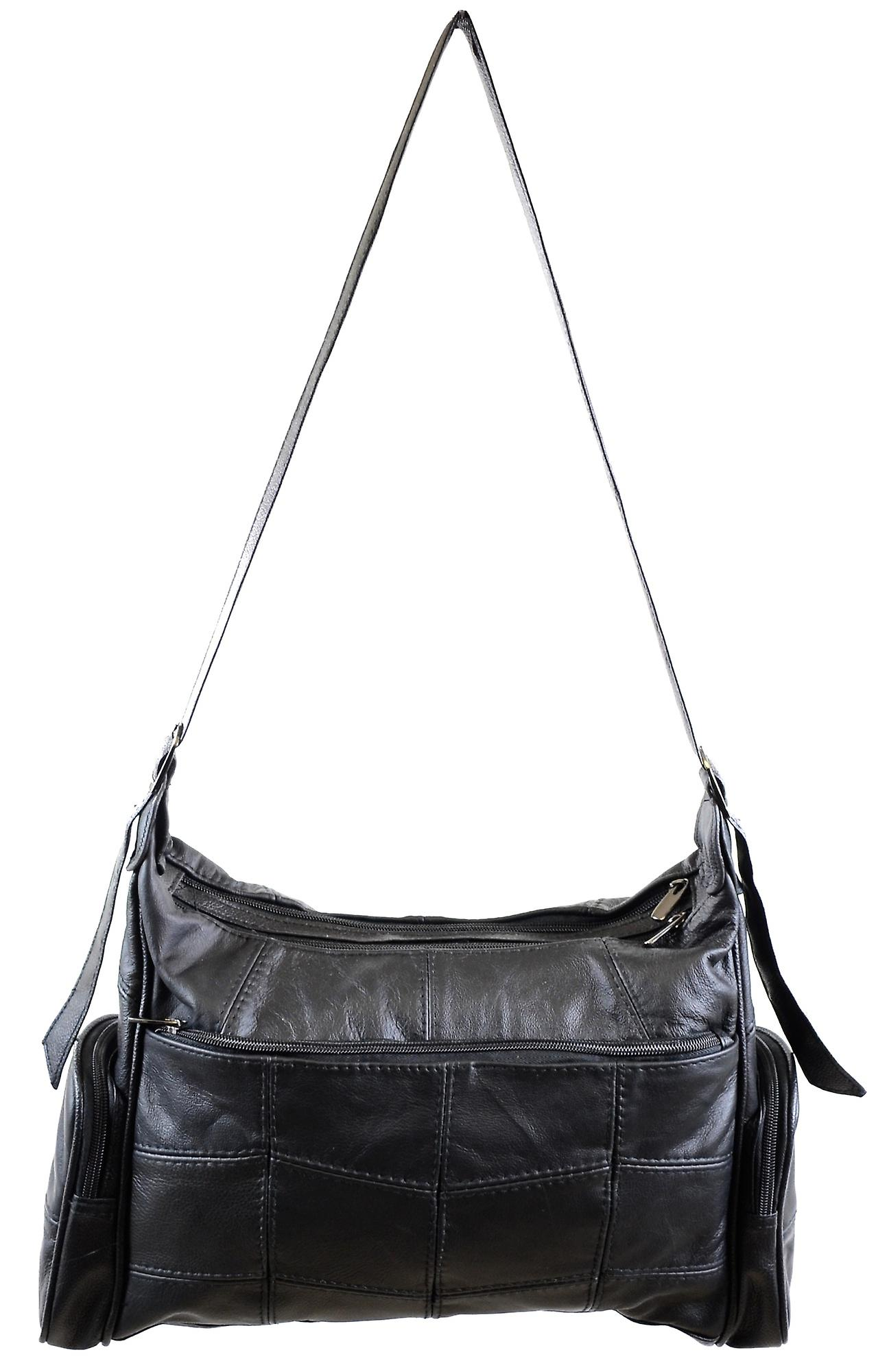 Ladies Large Leather Shoulder Bag   Hand Bag with 2 Main Compartments and Multiple  Pockets - e65bfc5f5f420