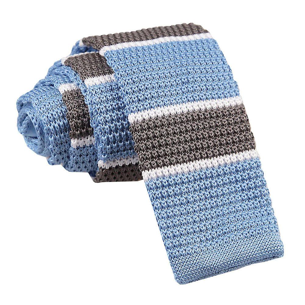 Light Blue Grey with White Thin Stripe Knitted Tie