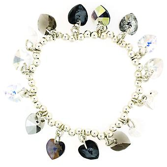 Kleshna Swarovski Crystal Candy Hearts Charm Bracelet in Black Diamond